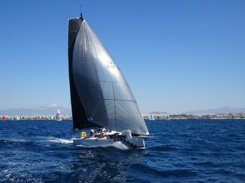 Team Aether GRE 016 offshore sailing team downwind