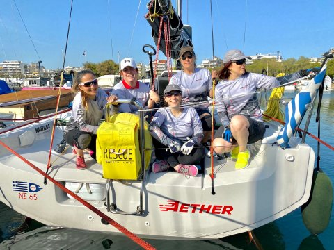 Evi Delidou and the girls Offshore Racing Crew