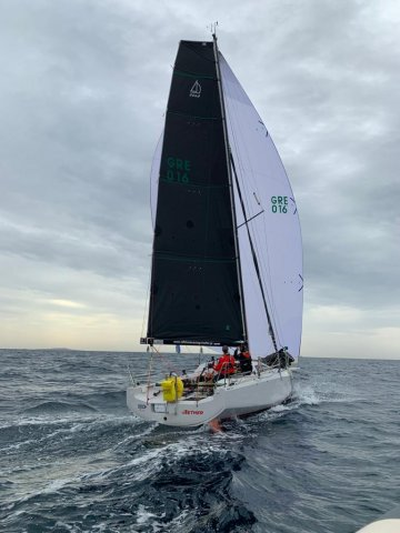 Team Aether GRE 016 offshore sailing team downwind flying